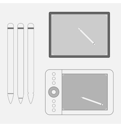 Set of graphic Tablets with Pens vector