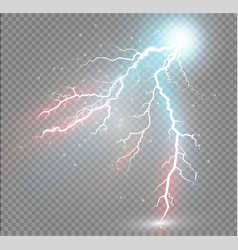 Set of lightnings magic and bright lighting vector