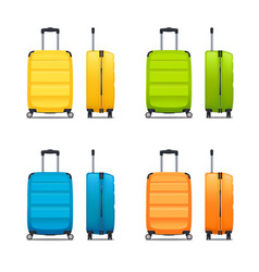 set of modern plastic suitcases vector image