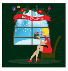 sitting woman near window holding christmas gift vector image
