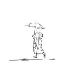 Sketch walking buddhist monk under umbrella vector