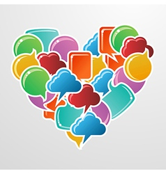 Social media bubbles in love heart shape vector image