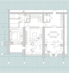 Standard furniture symbols on floor house plans vector