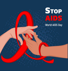 stop aids concept background cartoon style vector image