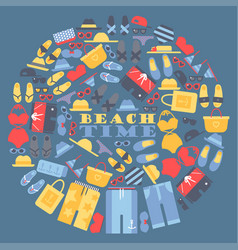 summer vacation on beach set icons in vector image
