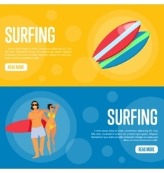 Surfing Website Template Set Horizontal banners vector image