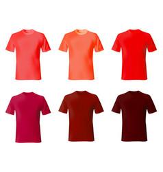 T shirt design template set men shirts red color vector