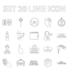 taxi service outline icons in set collection for vector image