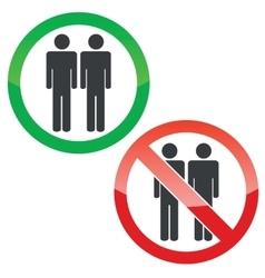 Two men permission signs set vector