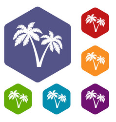 Two palms icons set vector