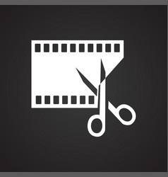 Video edit icon on black background for graphic vector