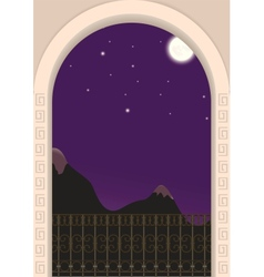 view from the balcony on a moonlit night vector image