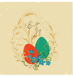vintage card easter joy vector image