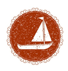 Vintage sign with boat vector