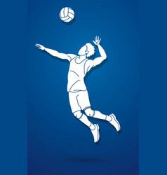 volleyball player action cartoon graphic vector image