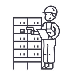 Warehousedelivery man checking barcode on post vector
