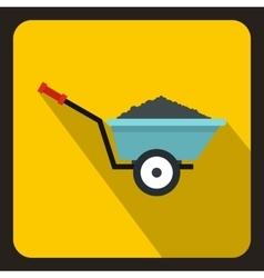 Wheelbarrow with ground icon flat style vector image