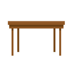 Wooden table furniture on white background vector