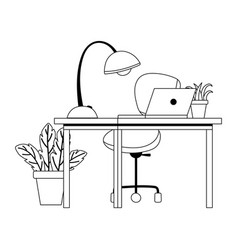 workspace office chair desk laptop lamp and plants vector image