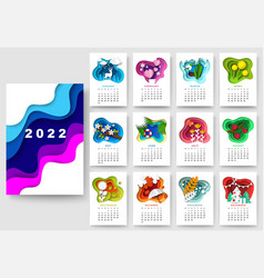 Year 2022 calendar template winter spring vector