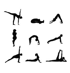 yoga color silhouette vector image