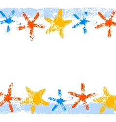 Colorful starfishes grunge print summer background vector image