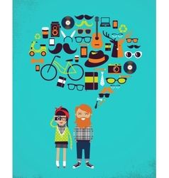 Hipster speech bubble with icons and stylish young vector image
