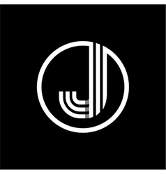 J capital letter of three white stripes enclosed vector