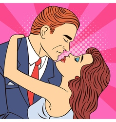 Kissing Couple Man Kissing a Woman Pop Art Banner vector image