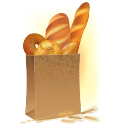Paper bag with bread vector image vector image