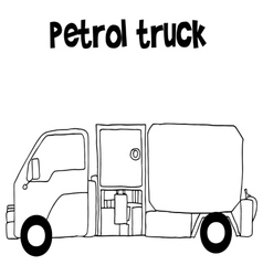 Petrol truck with hand draw vector