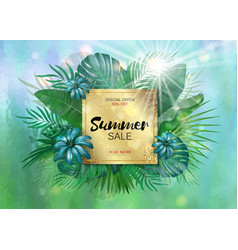 sale square summer sale tropical leaves frame vector image vector image