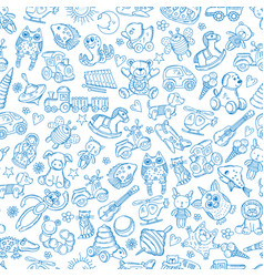 children with toys seamless pattern with vector image vector image