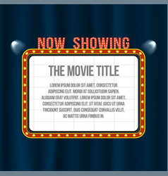 cinema signboard on blue curtain with spotlights vector image vector image