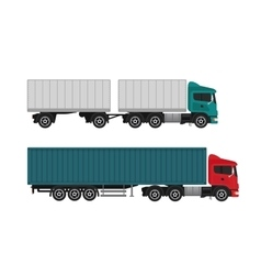 Delivery shipping cargo trucks and semi-trucks vector image vector image