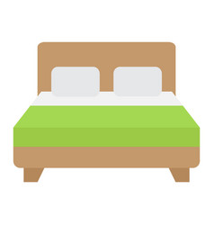 double bed flat icon furniture and interior vector image