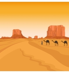 Egypt sahara desert with camels vector image
