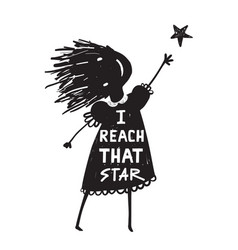 Girl or kid reaching the high star vector