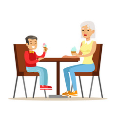 grandmother and a boy eating ice-cream part of vector image vector image