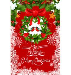 merry christmas bullfinch greeting card vector image