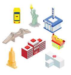 new york isometric attractions vector image