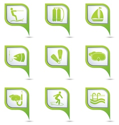 Set of 9 sport GREEN pointer vector image vector image