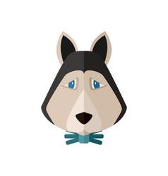 siberian husky head icon in flat design vector image vector image