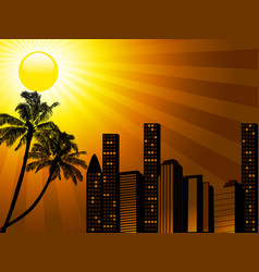 tropical city sunset with palm tree vector image vector image