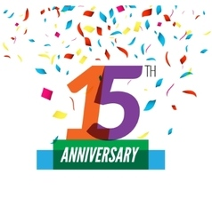 Anniversary design 15th icon anniversary vector image vector image