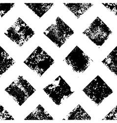 Black and white grunge squares print geometric vector image