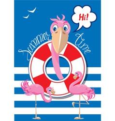 flamingo card 1 380 vector image vector image