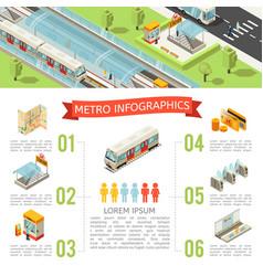 isometric metro infographic concept vector image vector image