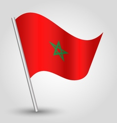 Moroccan flag on pole vector
