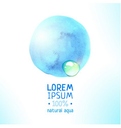 natural aqua magic blue watercolor label vector image vector image